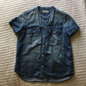 Light denim collarless shirt from Madewell.